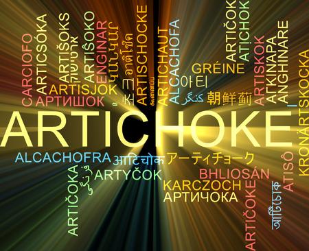 artichoke: Background concept wordcloud multilanguage international many language illustration of artichoke glowing light