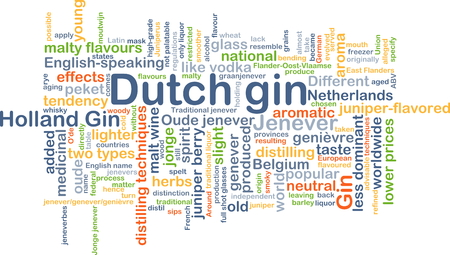 distilling: Background concept wordcloud illustration of Dutch gin