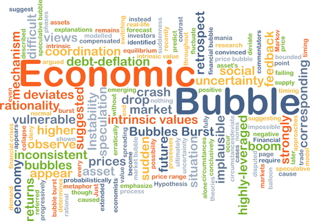 price uncertainty: Background concept wordcloud illustration of economic bubble Stock Photo