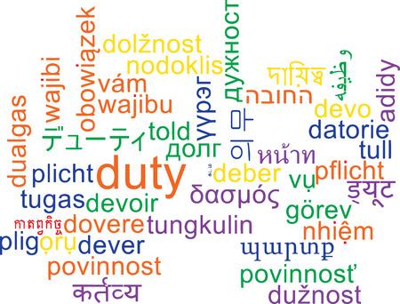 duty: Background concept wordcloud multilanguage international many language illustration of duty