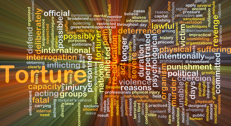torture: Background concept wordcloud illustration of torture glowing light