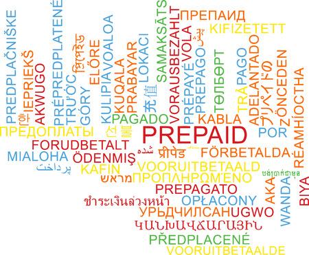 Background concept wordcloud multilanguage international many language illustration of prepaid Stock Photo