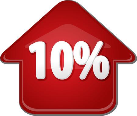 upwards: Upwards success glossy red arrow percent pointing up ten 10 Stock Photo