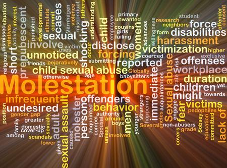 workplace harassment: Concepto de fondo wordcloud ilustración de la luz que brilla intensamente abuso