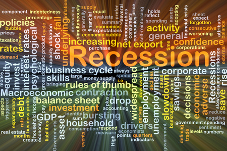 widespread: Background concept wordcloud illustration of recession glowing light