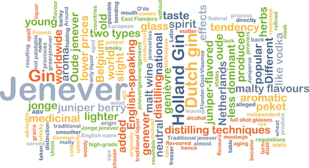 distilling: Background concept wordcloud illustration of jenever Stock Photo