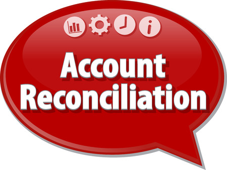reconciliation: Speech bubble dialog illustration of business term saying Account reconciliation