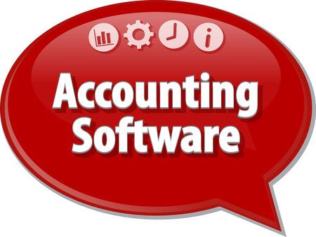 contabilidad: Ilustración de diálogo Burbuja del discurso del término de negocios diciendo software de contabilidad