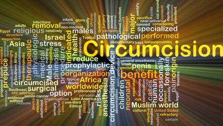 physiologic: Background concept wordcloud illustration of circumcision glowing light