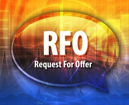 request: word speech bubble illustration of business acronym term RFO Request For Offer Stock Photo