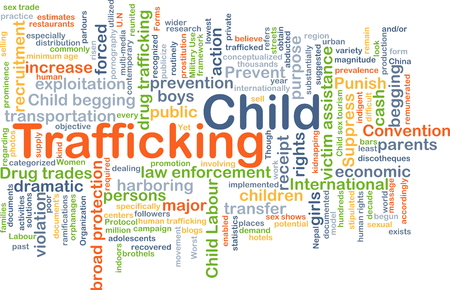 trafficking: Background concept wordcloud illustration of child trafficking Stock Photo