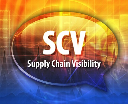 word speech bubble illustration of business acronym term SCV Supply Chain Visibility