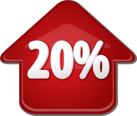 upwards: Upwards success glossy red arrow percent pointing up twenty 20 Stock Photo