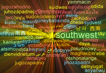 southwest: Background concept wordcloud multilanguage international many language illustration of southwest glowing light Stock Photo