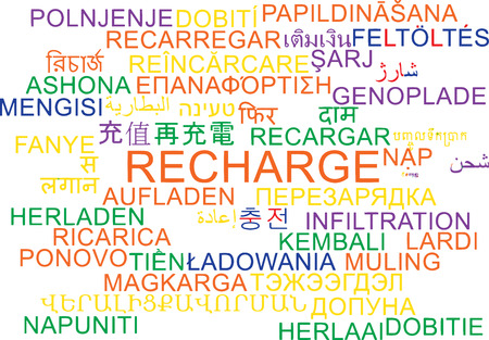 recharge: Background concept wordcloud multilanguage international many language illustration of recharge Stock Photo