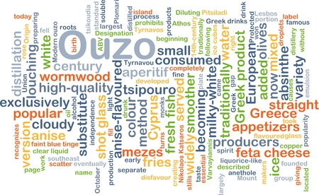 Background concept wordcloud illustration of ouzo