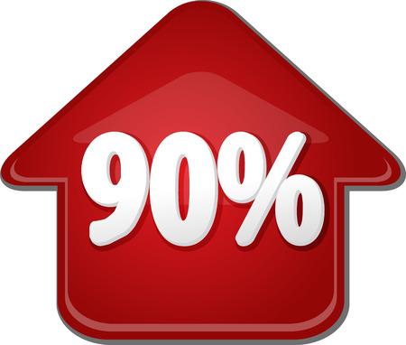 ninety: Upwards success glossy red arrow percent pointing up ninety 90
