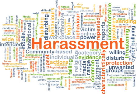 unwanted: Background concept wordcloud illustration of harassment