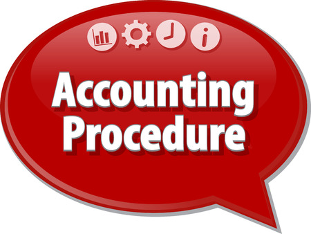 procedures: Speech bubble dialog illustration of business term saying Accounting procedures