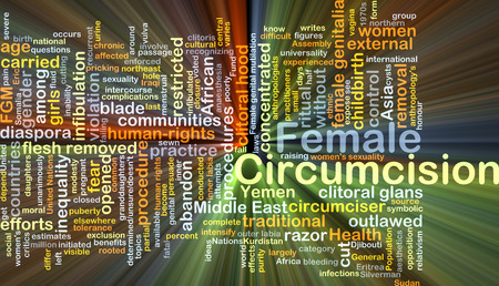 inequality: Background concept wordcloud illustration of female circumcision glowing light Stock Photo
