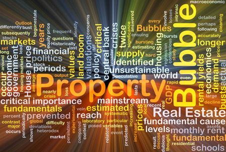 unsustainable: Background concept wordcloud illustration of property bubble glowing light Stock Photo