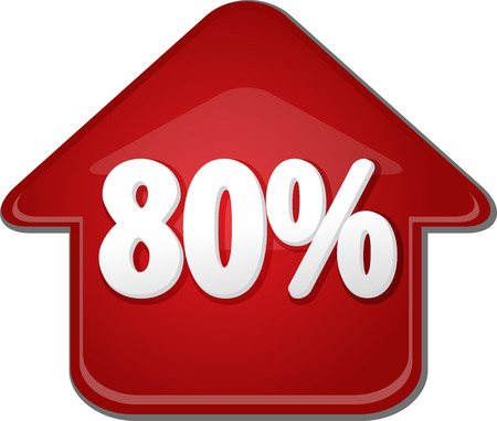 upwards: Upwards success glossy red arrow percent pointing up eighty 80 Stock Photo