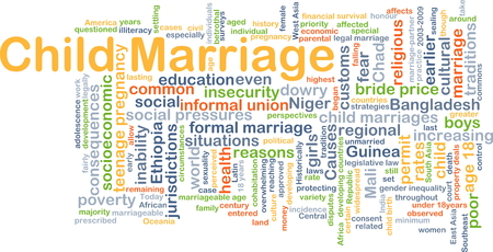 jurisdictions: Background concept wordcloud illustration of child marriage Stock Photo