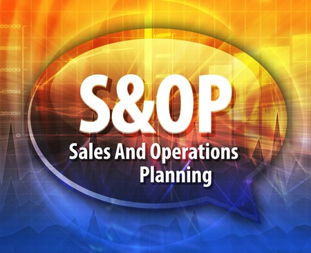 sop: word speech bubble illustration of business acronym term S&OP Sales and Operations Planning Stock Photo