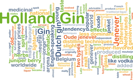 distilling: Background concept wordcloud illustration of Holland gin