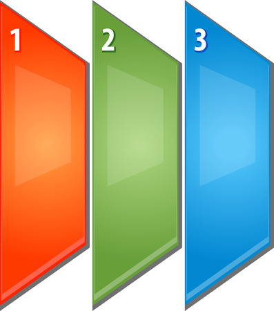 three layer: blank business strategy concept infographic diagram perspective panels numbered points illustration Three 3 Stock Photo