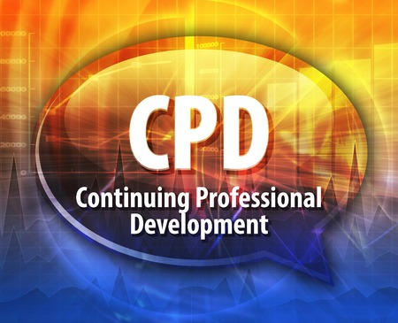 professional: word speech bubble illustration of business acronym term CPD Continuing Professional Development Stock Photo