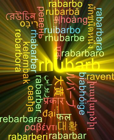 rhubarb: Background concept wordcloud multilanguage international many language illustration of rhubarb glowing light
