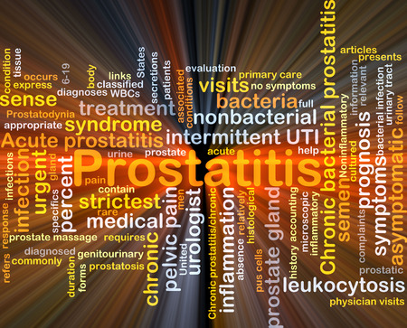 urologist: Background concept wordcloud illustration of prostatitis glowing light Stock Photo