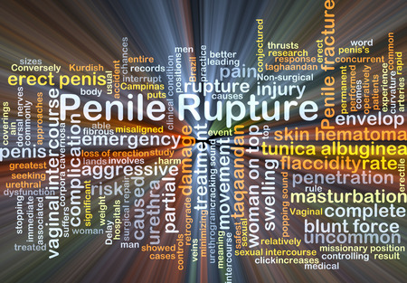 swelling: Background concept wordcloud illustration of penile rupture glowing light