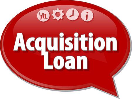 term: Speech bubble dialog illustration of business term saying Acquisition Loan
