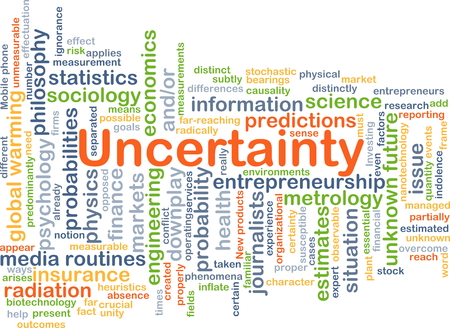 uncertainty: Background concept wordcloud illustration of uncertainty