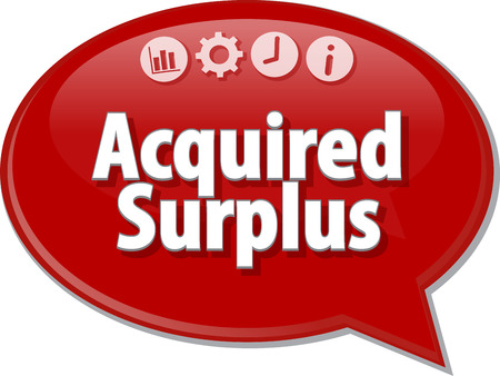 acquired: Speech bubble dialog illustration of business term saying Acquired surplus
