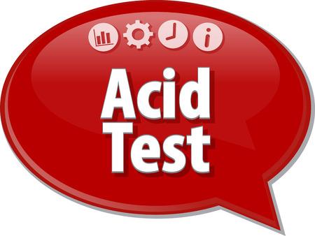 bubble acid: Speech bubble dialog illustration of business term saying Acid Test