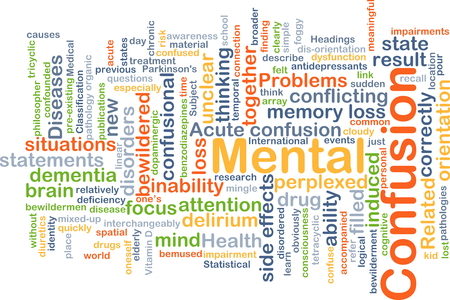 Background concept wordcloud illustration of mental confusion Imagens