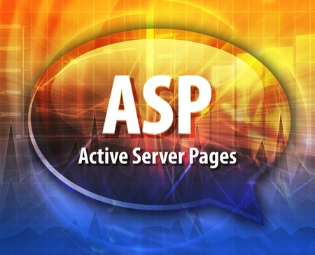 asp: speech bubble illustration of information technology acronym abbreviation term definition ASP Active Server Pages Stock Photo