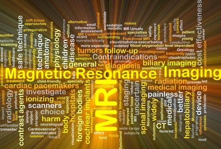 Ilustración de fondo wordcloud concepto de imagen de resonancia magnética MRI luz brillante Foto de archivo