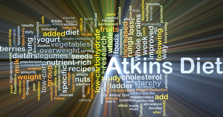 carb: Background concept wordcloud illustration of Atkins diet glowing light