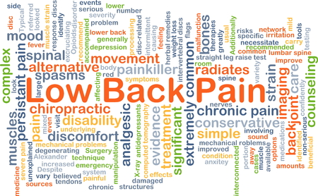 spasms: Background concept wordcloud illustration of low back pain Stock Photo