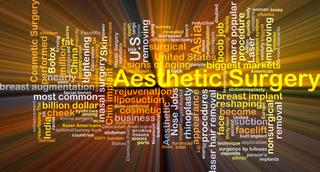 breast implant: Background concept wordcloud illustration of aesthetic surgery glowing light