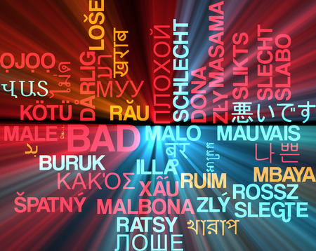 bad condition: Background concept wordcloud multilanguage international many language illustration of bad glowing light