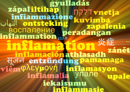 inflame: Background concept wordcloud multilanguage international many language illustration of inflamation glowing light