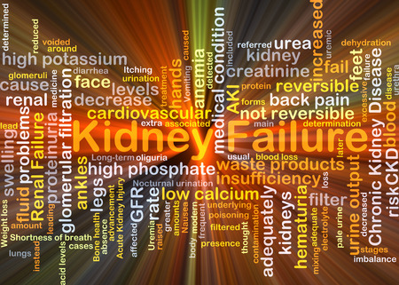Background concept wordcloud illustration of kidney failure glowing light Stock Photo