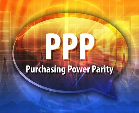 purchasing: word speech bubble illustration of business acronym term PPP Purchasing Power Parity Stock Photo