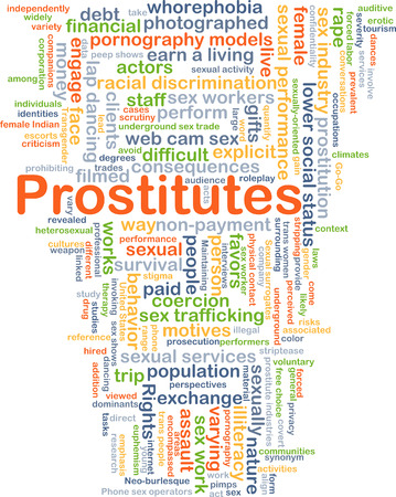sex discrimination: Background concept wordcloud illustration of prostitutes