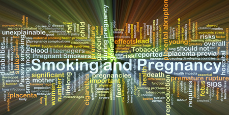 abruption: Background concept wordcloud illustration of smoking and pregnancy glowing light